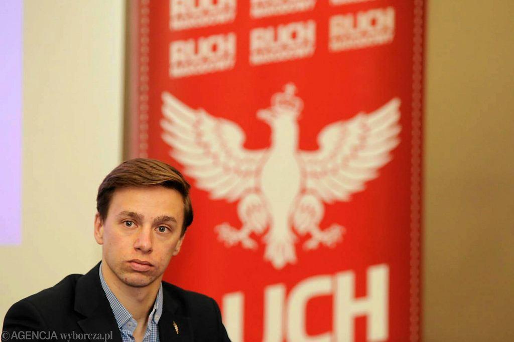 Maj 2017 r. Krzysztof Bosak, jako przewodniczący Ruchu Narodowego w Białymstoku podczas spotkania z narodowcami.