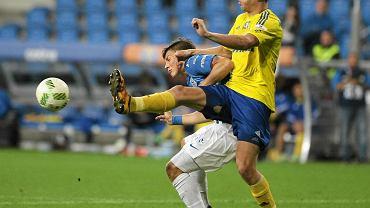 Lech Poznań - Arka Gdynia 0:0. Michał Marcjanik (z prawej) i Dawid Kownacki