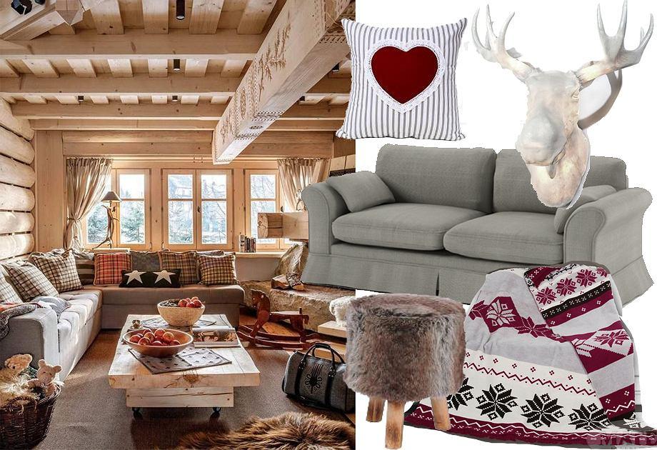 Salon w stylu górskiej chaty