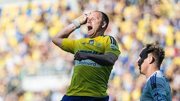 Rafał Siemaszko podczas meczu Arka - Ruch