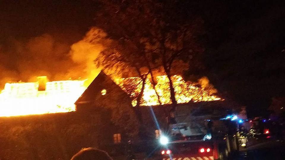 Płonący budynek przy ul. Prądzyńskiego