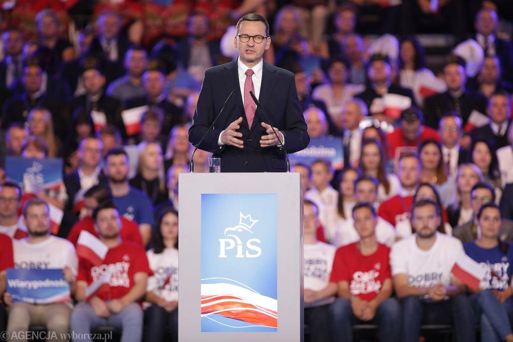 Premier rządu PiS Mateusz Morawiecki podczas konwencji wyborczej Prawa i Sprawiedliwości. Lublin, 7 września 2019