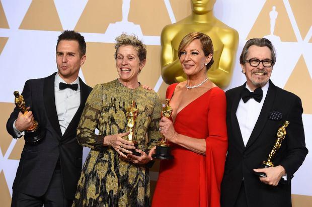 Od lewej: Sam Rockwell (najlepsza rola męska drugoplanowa, 'Trzy billboardy za Ebbing, Missouri'), Frances McDormand (najlepsza aktorka, 'Trzy billboardy za Ebbing, Missouri'), Allison Janney (najlepsza rola drugoplanowa żeńska, 'Jestem najlepsza. Ja, Tonya'') i Gary Oldman (najlepszy aktor, 'Czas mroku').