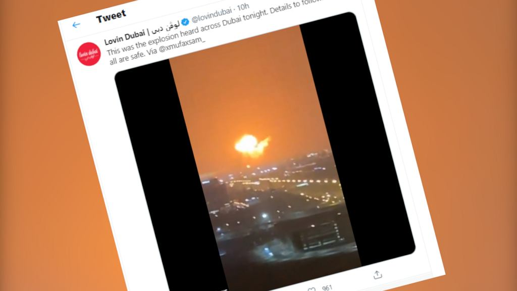 Dubaj. Wybuch na pokładzie kontenerowca
