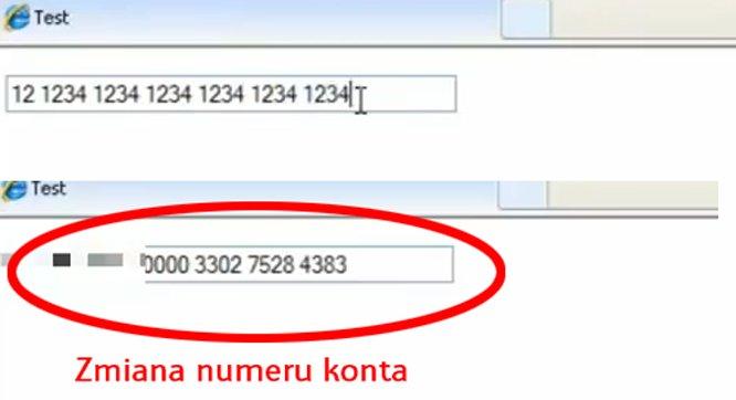 Banatrix zmienia numer konta bez wykorzystana schowka.