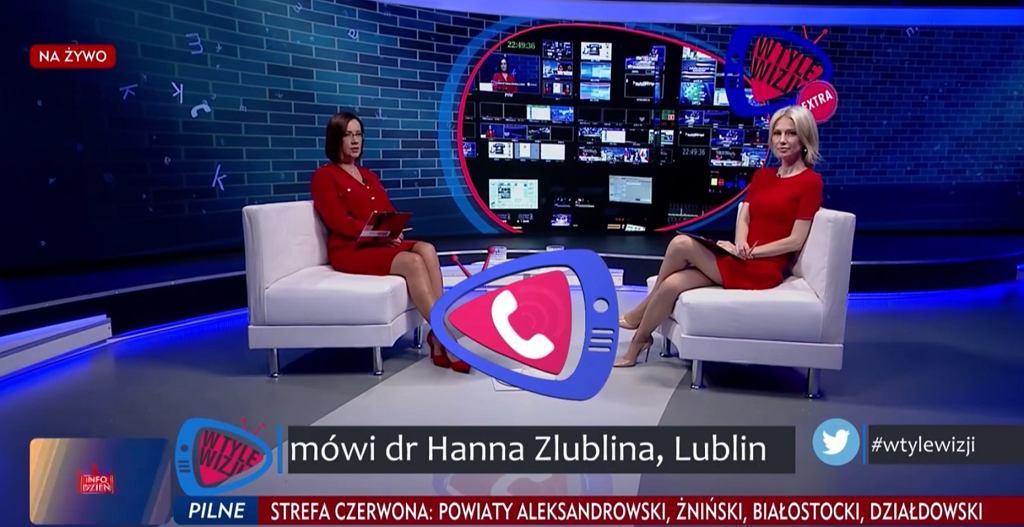 Kadr z programu 'W tyle wizji' w TVP.