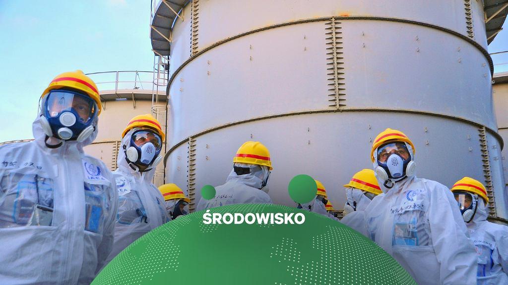 Zbiorniki wody przy elektrowni atomowej Fukushima
