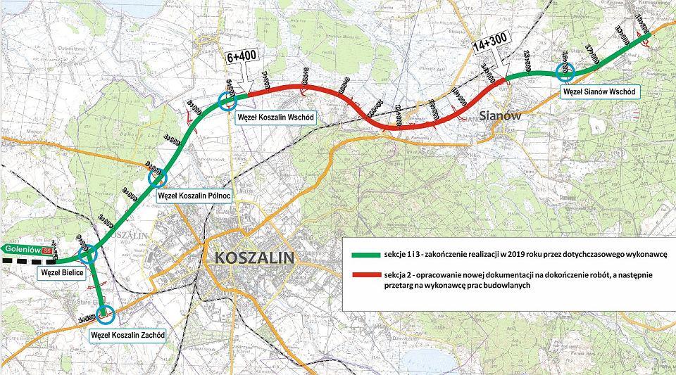 Obwodnica Koszalina  i Sianowa z problematycznym (kolor czerwony) odcinkiem