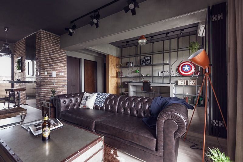 Industrialny apartament kawalera w Tajwanie. Projekt: House Design Studio