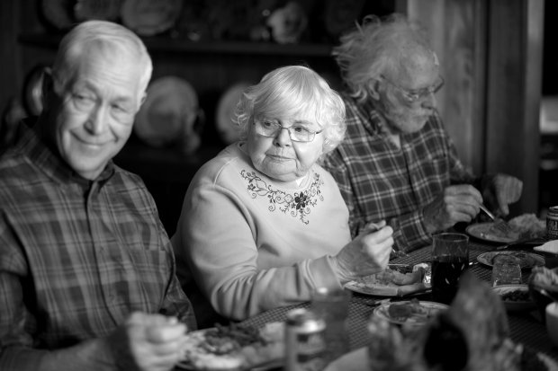 "This image released by Paramount Pictures shows, from left, Dennis McCoig as Uncle Verne, June Squibb as Kate Grant and Bruce Dern as Woody Grant in a scene from the film Nebraska.""  Squibb was nominated for an Academy Award for best supporting actress on Thursday, Jan. 16, 2014, for her role in the film. The 86th Academy Awards will be held on March 2. (AP Photo/Paramount Pictures, Merie W. Wallace)"