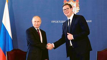 17.01.2019, Belgrad, wizyta prezydenta Rosji Władimira Putina. Na zdjęciu w towarzystwie prezydenta Serbii Aleksandara Vucicia.