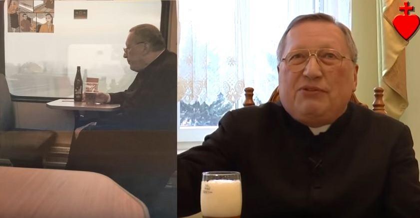 Kadr z nagrania ks. Romana Kneblewskiego, po lewej zdjęcie zrobione mu w pociągu