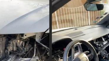 Zdemolowany samochód Bartosza Kurka