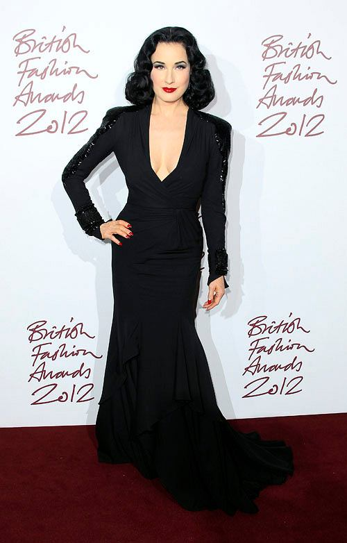 Dita Von Teese arrives for the British Fashion Awards at the Savoy Hotel in central London, Tuesday Nov. 27, 2012. (Photo by Joel Ryan/Invision/AP)