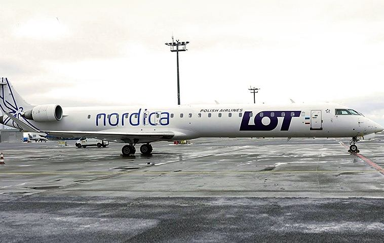Tak prezentuje się Bombardier CRJ-900 we wspólnym malowaniu LOT-Nordica