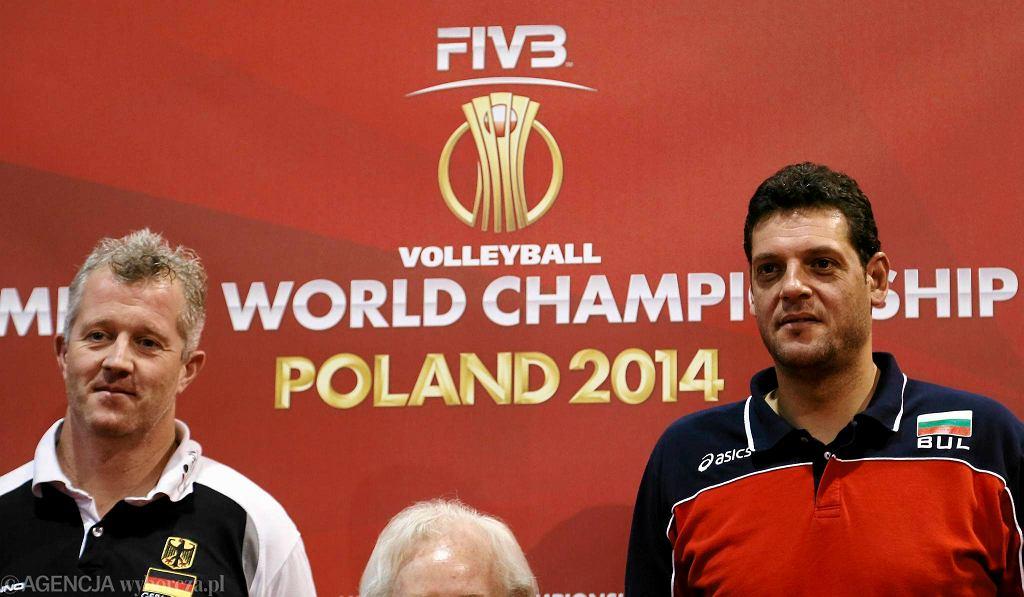 Vital Heynen i Płamen Konstantinow podczas konferencji prasowej w Katowicach