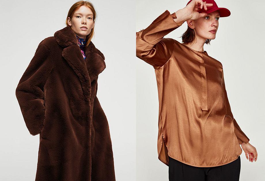 Czekoladowy płaszcz i koszula - Mango, Zara