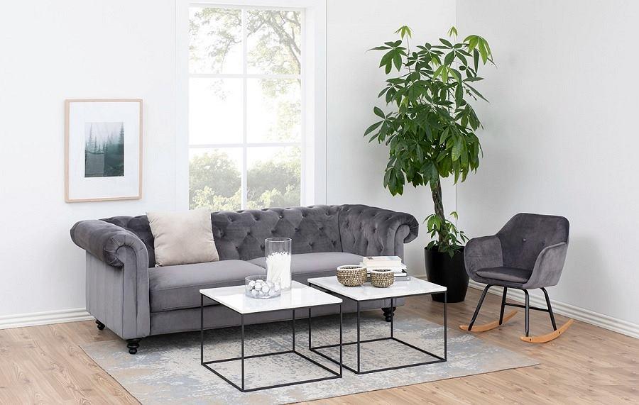 Fotel bujany Emilia Pins grafitowy welurowy