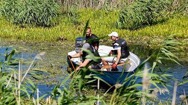 Specjalna grupa płetwonurków na dnie stawów przy ul. Głowackiego szukała narzędzia zbrodni