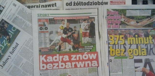 Środowe gazety po meczu Polska - Irlandia