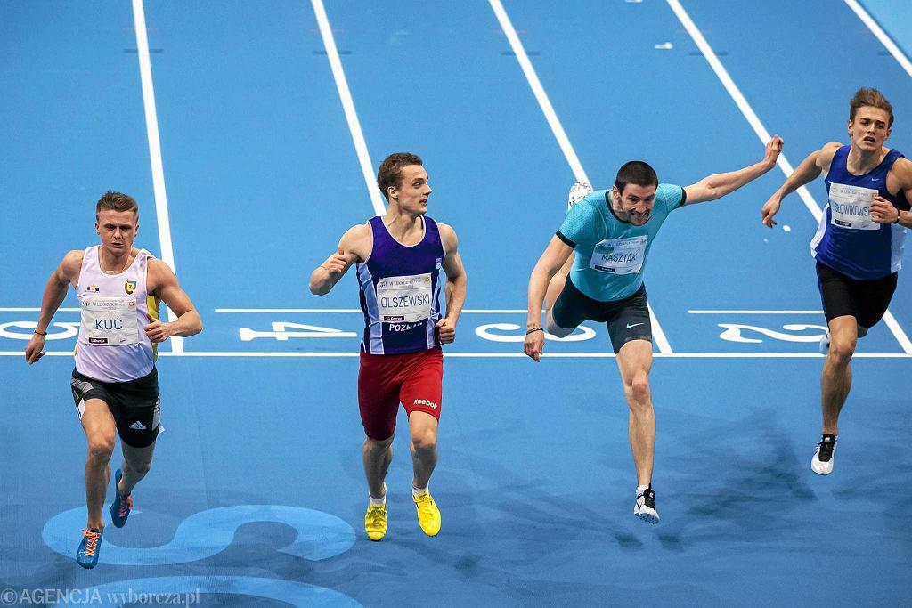 Halowe mistrzostwa Polski w lekkiej atletyce Sopot 2014. Od lewej: Dariusz Kuć, Remigiusz Olszewski (AZS Poznań), Kamil Masztak (Grunwald Poznań)