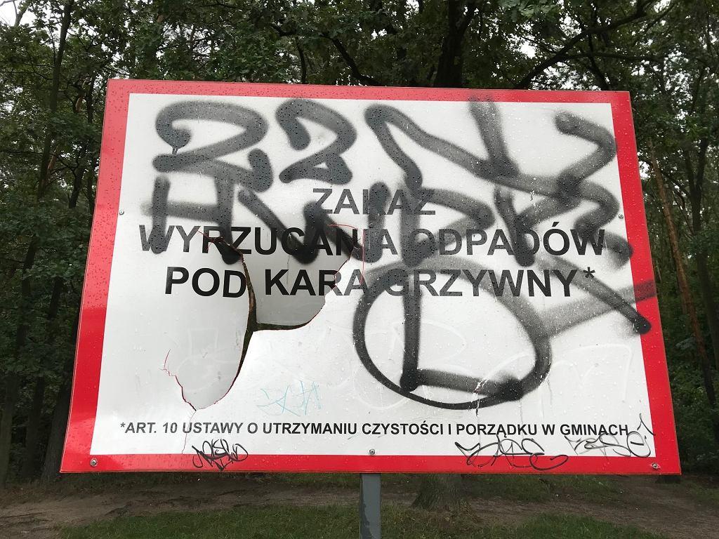 Śmieci w Lesie Kabackim w Warszawie