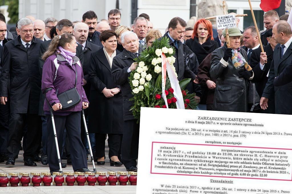 Miesięcznica smoleńska na Krakowskim Przedmieściu, 10.05.2017 r. i pismo wojewody mazowieckiego