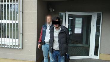 Podejrzany mężczyzna podczas zatrzymania