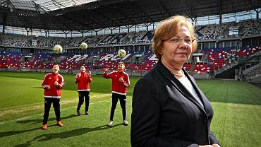 Małgorzata Mańka-Szulik, prezydent Zabrza, na stadionie Górnika Zabrze