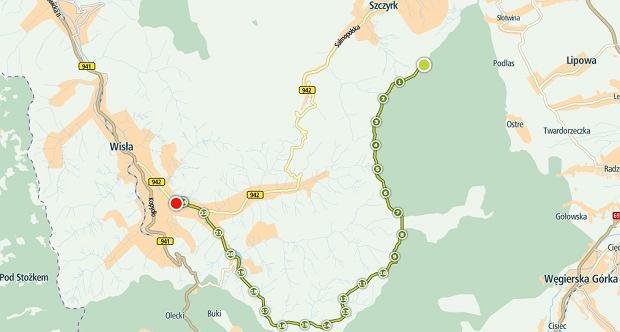 Trasa naszej pieszo rowerowej wyprawy - Od Skrzycznego do Wisły