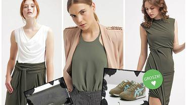 ubrania i dodatki w kolorze khaki