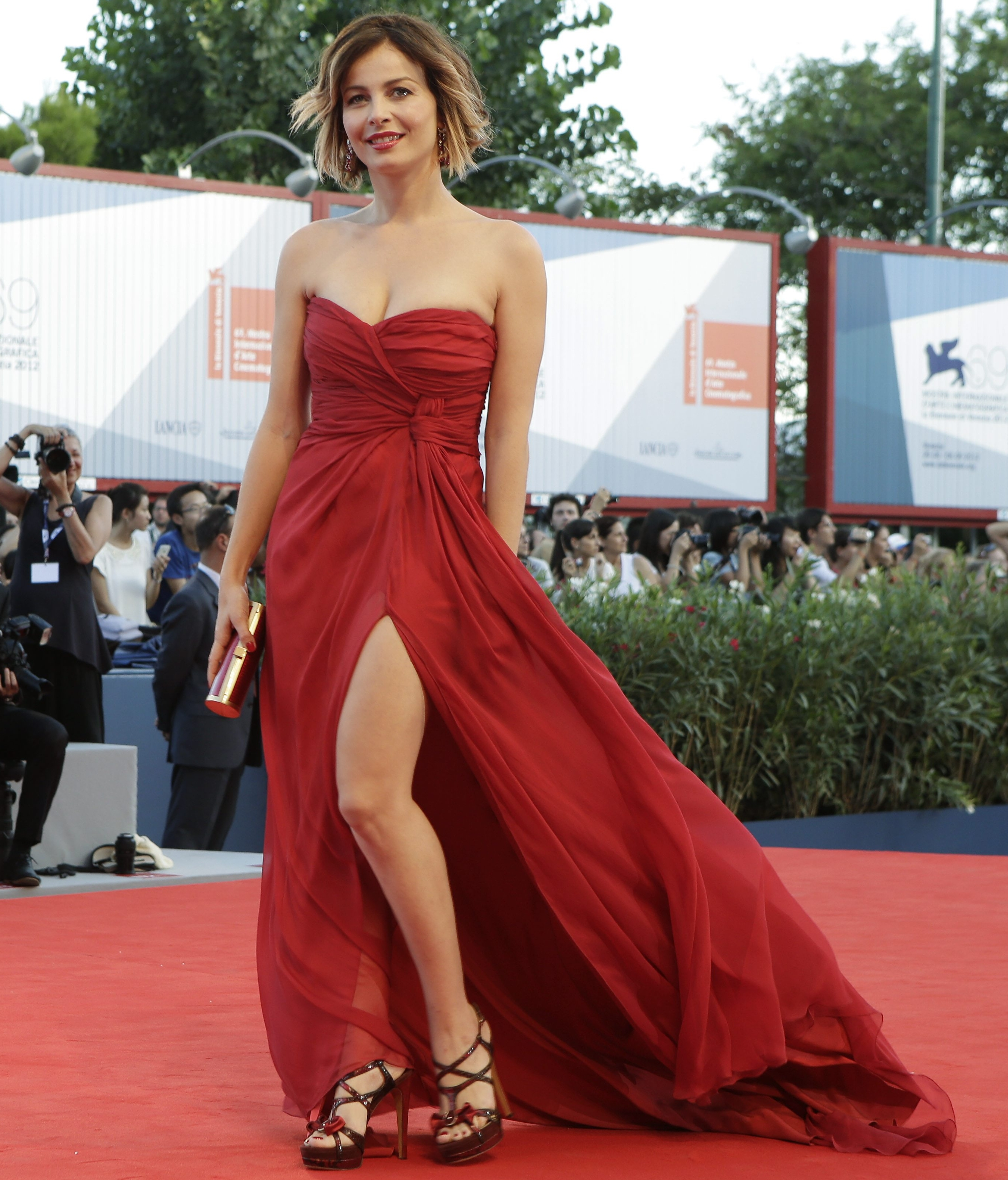 Actress Violante Placido arrives for the premiere of the movie 'The Reluctant Fundamentalist' that opens the 69th edition of the Venice Film Festival in Venice, Italy, Wednesday, Aug. 29, 2012. (AP Photo/Andrew Medichini)