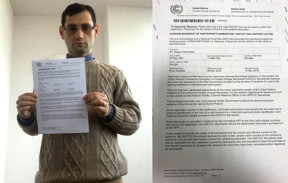 Gruzin Nugzar Kokhreidze, jeden z zatrzymanych dziś na granicy wysłanników na COP24, czeka właśnie na deportację w porcie lotniczym w Katowicach.