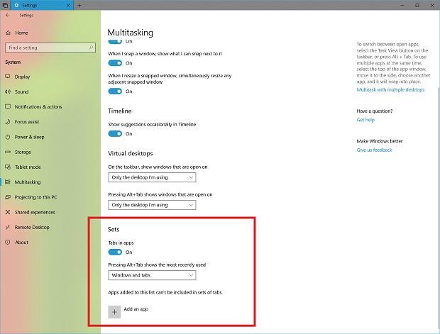 Ustawienia funkcji Sets w Windows 10