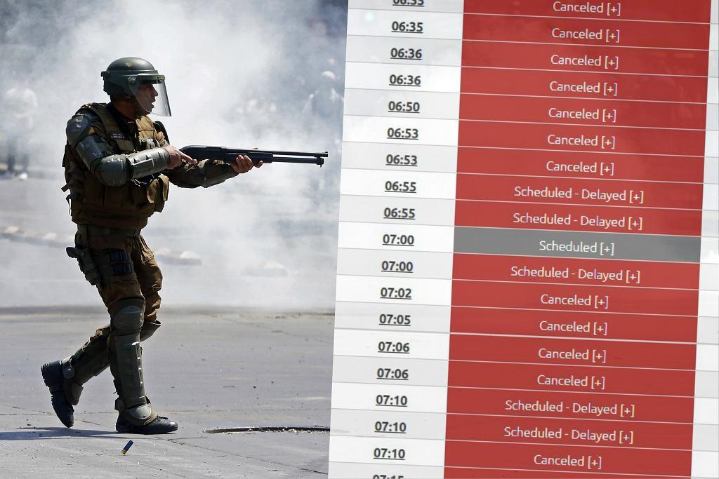 Zamieszki w Santiago - loty są odwoływane masowo