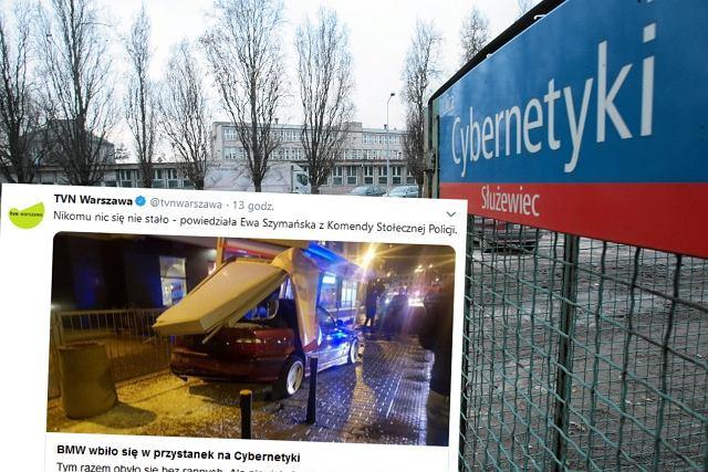 Kolejny samochód wjechał w wiatę przystankową. BMW uderzyło w przystanek 'Cybernetyki'