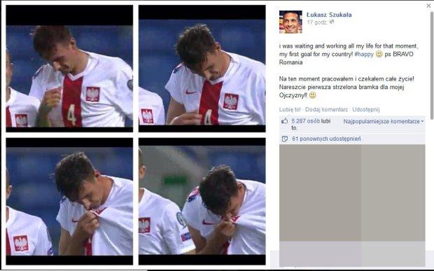 Łukasz Szukała cieszy się z pierwszego gola w reprezentacji