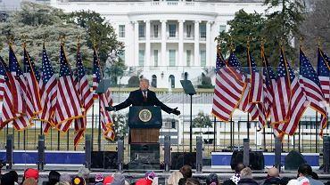 6.01.2021, Waszyngton, Donald Trump przemawia na wiecu.