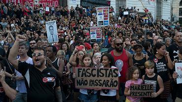 31.03.2019, Rio de Janeiro, protest przeciwko upamiętnianiu wojskowego zamachu stanu z 1964 roku.