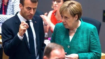 Szczyt UE w Brukseli. Emmanuel Macron i Angela Merkel