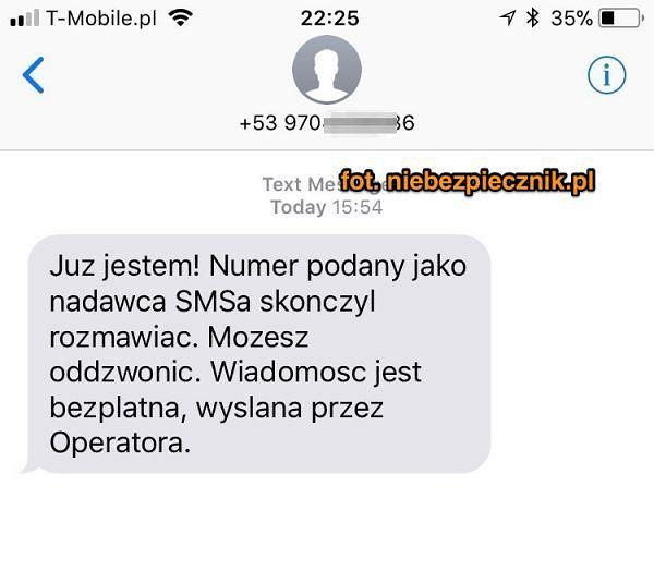 Fałszywa wiadomość SMS