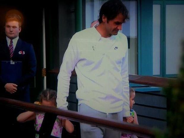 Roger Federer z córkami, Wimbledon 2014