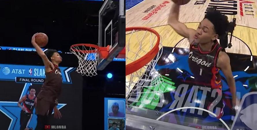 Anfernee Simons (Portland Trail Blazzers) w konkursie wsadów NBA All-Star Weekend. Źródło: YouTube