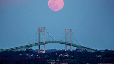 Różowy księżyc, 'Pink' Supermoon Over the Pell Bridge Newport