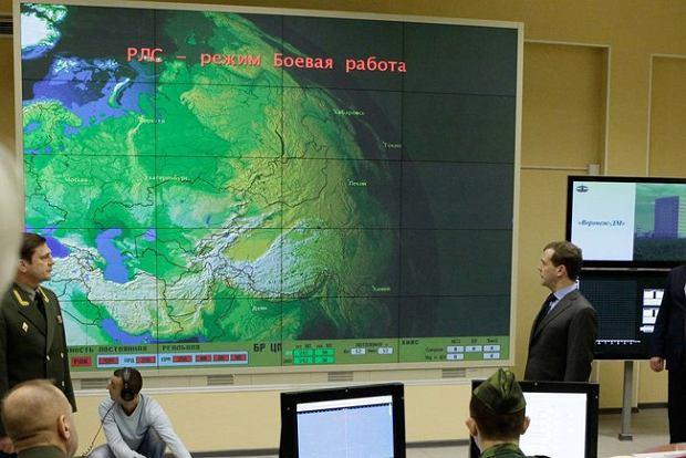 Fragment współczesnego centrum kontroli radaru wczesnego ostrzegania w Kaliningradzie