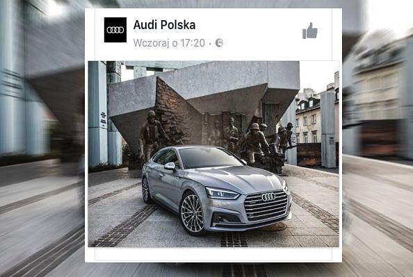 Audi przed Pomnikiem Powstania Warszawskiego