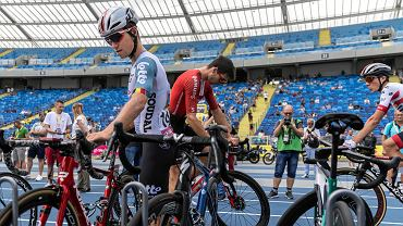 Bjorg Lambrecht na Stadionie Śląskim przed startem trzeciego etapu Tour de Pologne