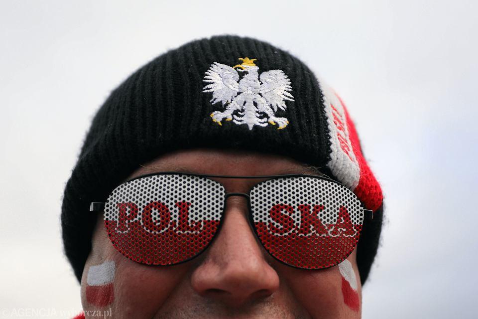 Kibic podczas Pucharu Świata w skokach narciarskich. Zakopane, 28 stycznia 2018