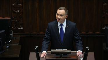 Andrzej Duda podczas orędzia