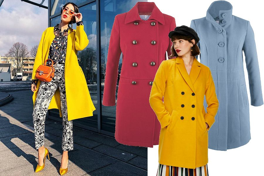 Kolorowe płaszcze w mocnych kolorach